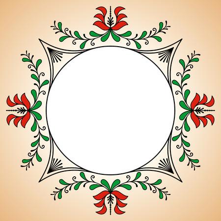 alfarero: Marco redondo con motivos potter h�ngaros tradicionales