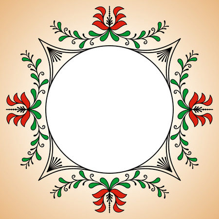 potter: Round frame with traditional Hungarian potter motives