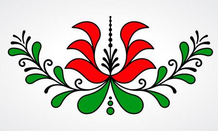 Tradicional motivo floral húngara con hojas estilizadas y pétalos Ilustración de vector