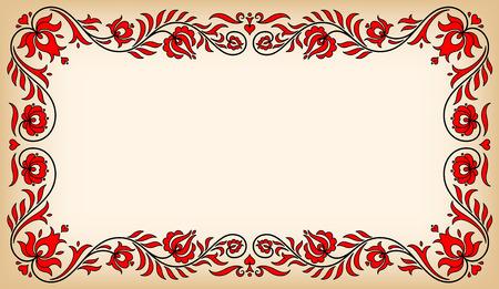Pusty rocznika ramka z tradycyjnymi motywami kwiatowymi węgierskich