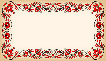 Empty vintage frame with traditional Hungarian floral motives