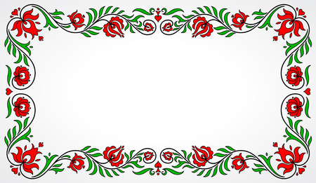 folklore: Empty frame with red and green traditional Hungarian floral motives