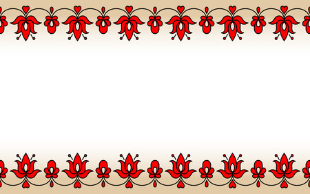 horizontally: Horizontally seamless band with red traditional Hungarian floral motives