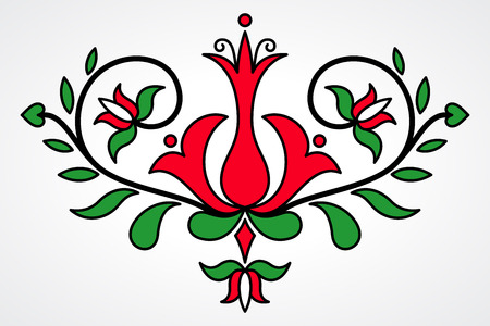 motives: Traditional Hungarian floral motif with stylized leaves and petals
