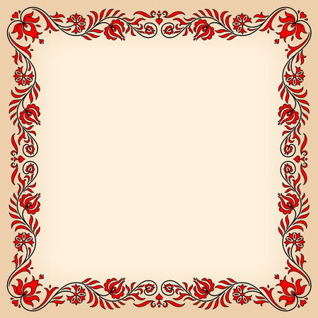motives: Empty vintage frame with traditional Hungarian floral motives
