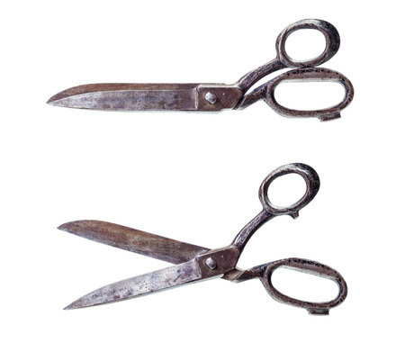 scissors: Isolated closed and open rusty big old steel scissors