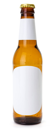 generic: Brown beer bottle with blank labels on white background