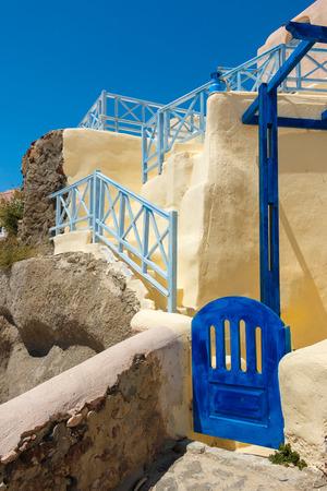 santorini island: Little Greek house gate in Santorini island Stock Photo