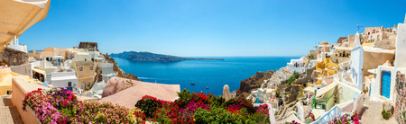 panorama: Panorama of colorful houses in Oia town, Santorini island