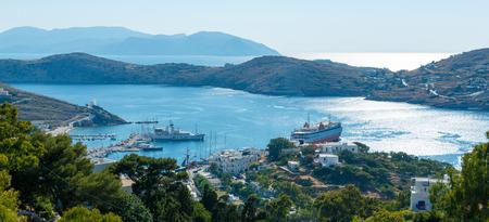 ios: Panoramic view on Ios island harbor, Greece Stock Photo