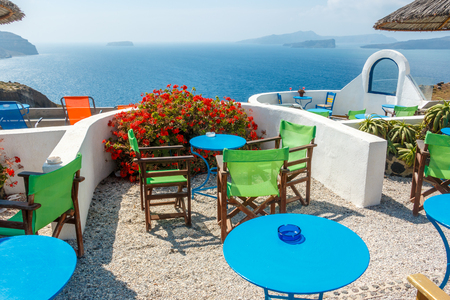 Restaurant with view on the caldera. Santorini island, Greece. Stock Photo