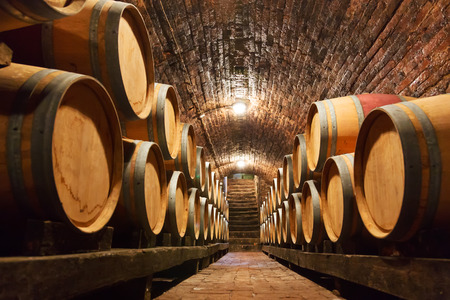 Rows of oak barrels in underground wine cellar Stock Photo