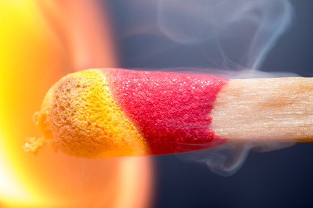 ignited: Extreme macro of a match being ignited
