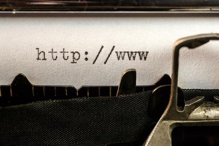 url web: Macro of url text beginning written by old typewriter machine Stock Photo