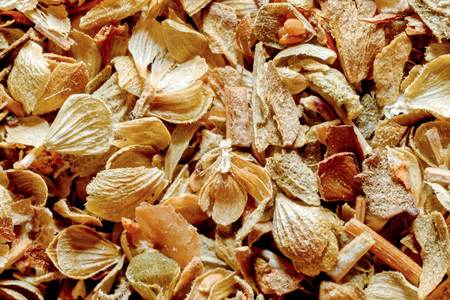 extreme macro: Extreme macro of oregano spice, dried leaves and seeds