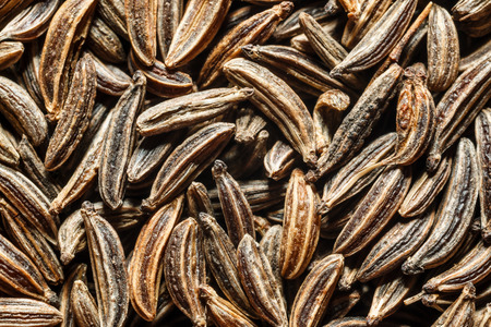 Extreme macro of dried cumin seeds Stock Photo