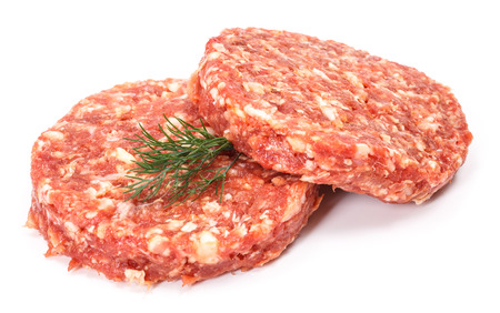 meatloaf: Uncooked beef hamburger meat on white background Stock Photo