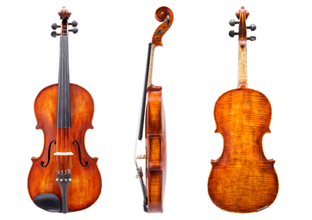 バイオリンのフロント、サイド、バックビュー。白で分離