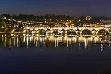 Charles bridge in the evening. Prague, Czech Republic, 2016