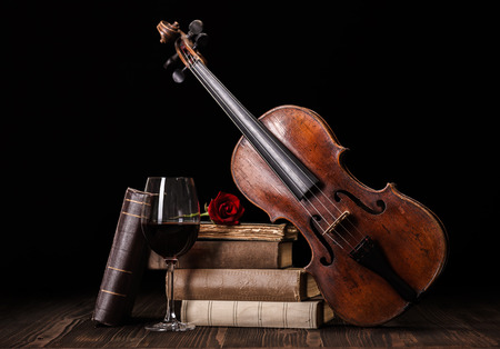 Old, classical violin with books and red wine Banque d'images