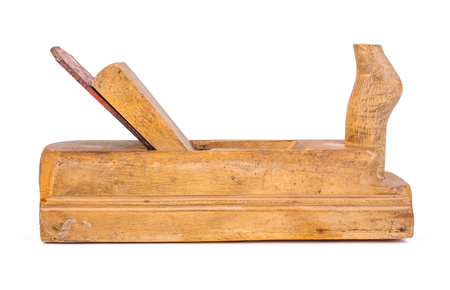 Used wooden hand plane on white background Banque d'images