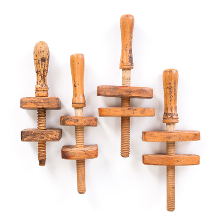 Woodworker wooden clamps on white background