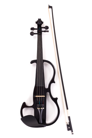 Black electric violin and bow on white background