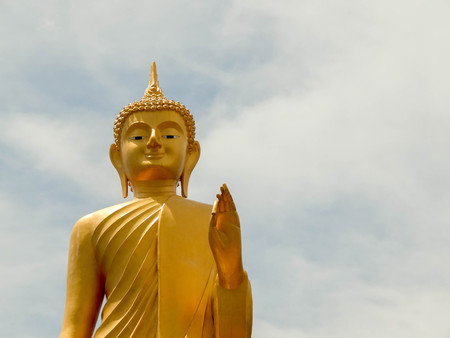 relatives: Golden Buddha The attitude of persuading the relatives not to quarrel in a public temple, Thailand Stock Photo