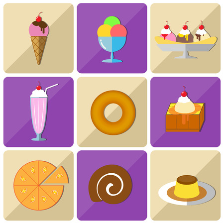 vanilla pudding: Flat style icon sets of the dessert