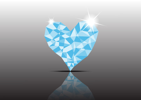 coeur diamant: Polygon Ice Diamond Heart avec réflexe fond sombre Illustration