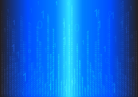 binary background: binary code technology abstract in dark blue background Illustration