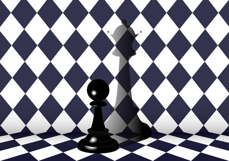 become: the dream of pawns become to queen on black and white square background