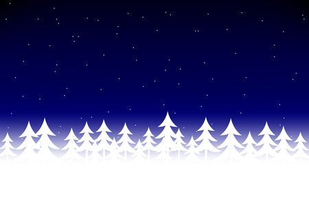 dark blue: Christmas tree snow in dark blue sky background