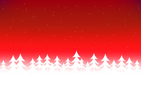 red sky: Christmas tree snow in red sky background Illustration