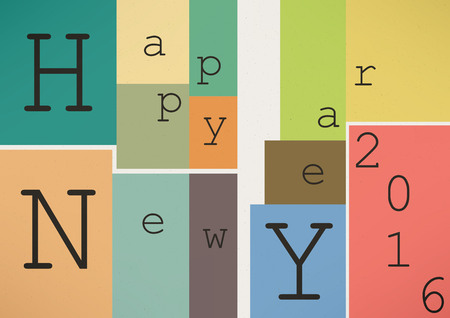 collocation: Happy New Year 2016 in vintage style Illustration