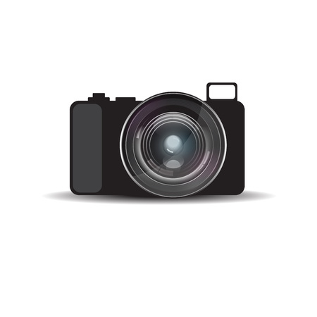 Mirrorless camera with realistic lens Illustration