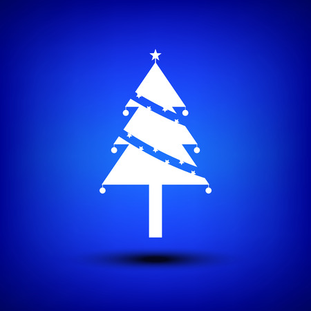 sign simplicity: White Christmas tree isolate on blue background Illustration
