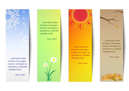 spring summer: Vertical bookmark season. Spring, summer, autumn, winter