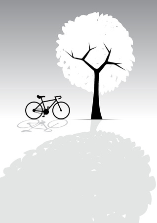 greyscale: Lonely, Bicycle and Tree, Light and Shadow, Greyscale