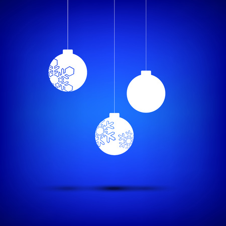 sign simplicity: Three christmas ball white on blue background Illustration