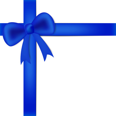 bestowal: Blue ribbon on white box, gift for someone
