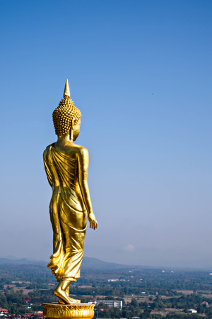 buddha image: Walking Buddha statue in a public temple, Thailand