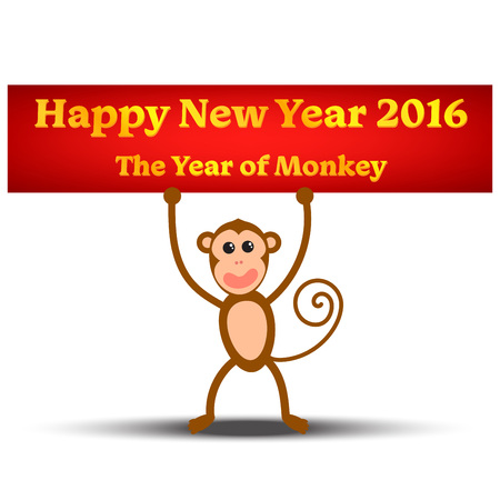 happy new year banner: Cute happy monkey with golden banner Happy New year 2016