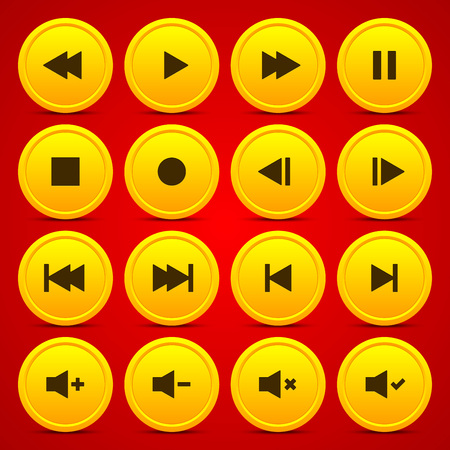 audio video: Gold media player audio video icon circle button on red background