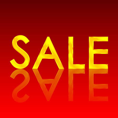 reflect: Golden sale font with reflect on red background isolated