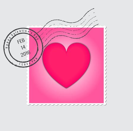 postage stamps: Happy Valentines Day Postage Stamp Vector Illustration