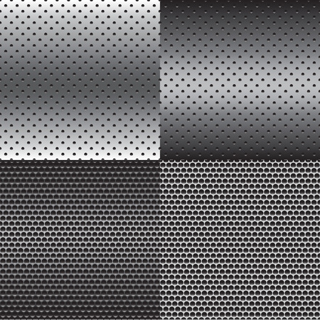 mesh texture: Metal Texture Background Set in Four Style Vector Illustration