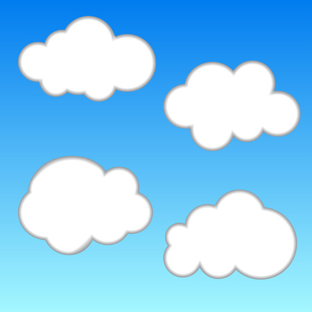 White Cloud Blue Sky Cartoon Vector Illustration