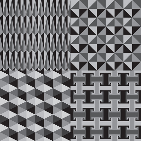 greyscale: Abstract Geometric Seamless Pattern Greyscale Vector Illustration