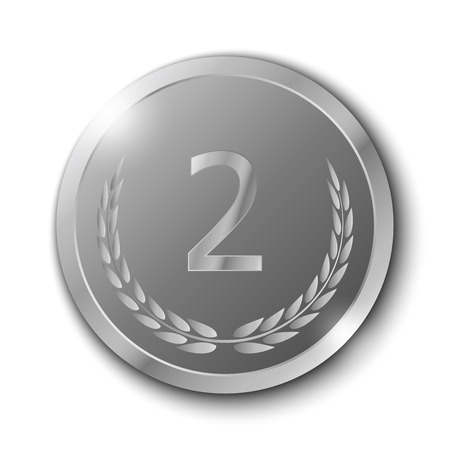 silver medal: Silver Medal with Olive Branch on White Background Illustration